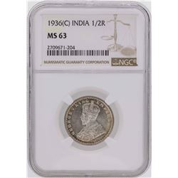 1936(C) India 1/2 Rupee Coin NGC MS63
