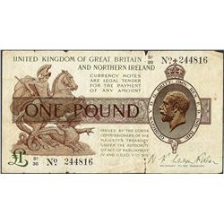 1927 UK of Great Britain and Northern Ireland Warren Fisher Pound Currency Note