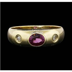 14KT Yellow Gold 0.60 ctw Pink Sapphire and Diamond Ring