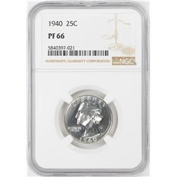 1940 Proof Washington Quarter Coin NGC PF66