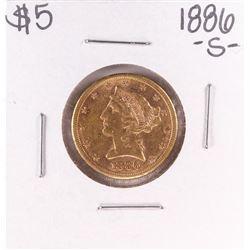 1886-S $5 Liberty Head Half Eagle Gold Coin