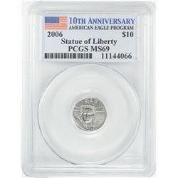 2006 $10 American Platinum Eagle Coin PCGS MS69