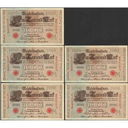 Lot of (5) Consecutive 1910 Germany 1,000 Mark Currency Notes