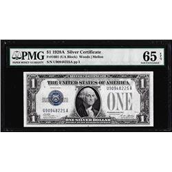 1928A $1 Silver Certificate Note Fr.1601 PMG Gem Uncirculated 65EPQ