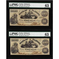 Change Over Pair of 1862 $100 State of Florida Obsolete Notes PMG Ch. Uncirculated 63
