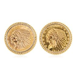 Set of $5 Half Eagle Gold Coins in 14K Gold Cuff Links