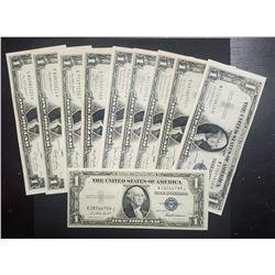 10-1930s $1 SILVER CERTS AU/CU