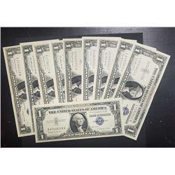 10-1957s $1 SILVER CERTS AU/CU