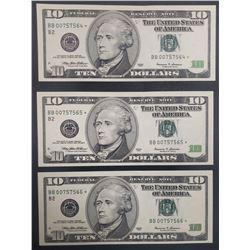 3-1999 $10 STAR NOTES CONSECUTIVE #
