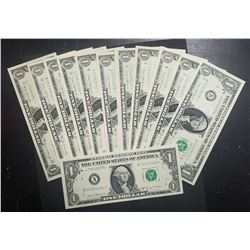 1969 $1 STAR NOTE DISTRICT SET (12)