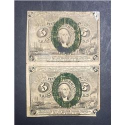 2-1863 5c FRACTIONAL NOTES STILL ATTACHED