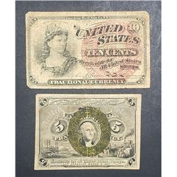 2-1863 FRACTIONAL NOTES 5c & 10c