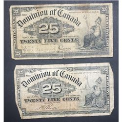 2 1900 DOMINION OF CANADA 25 CENTS NOTE