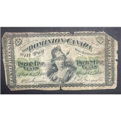 1870 Dominion of Canada 25 Cents Note