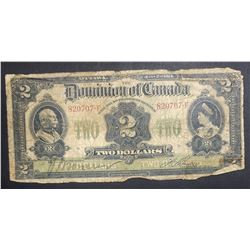 1914 Canada $2 Bank Note Currency