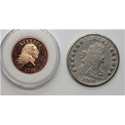 2-REPLICA U.S. COINS 1793 ONE CENT PROOF