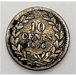 1876 NETHERLANDS 10 CENT SILVER
