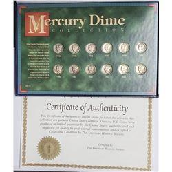 MERCURY DIME COLLECTION (12 COINS)