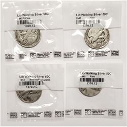 4-WALKING LIBERTY HALF DOLLARS LITTLETON PKS