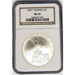 2005 P MARINES SILVER COMMEM $1 NGC MS70