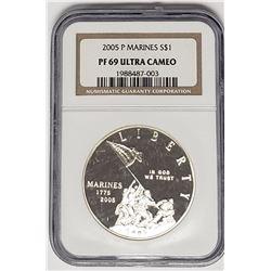 2005 P MARINES PROOF SILVER DOLLAR