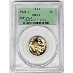 1938-D 5C Buffalo Nickel PCGS MS65