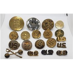 US Army Collar Discs, US Pins, & Cap Eagles