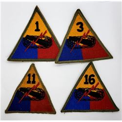 4 Different Armored Brigade Patches 1st, 3rd, 11th