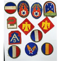 WWII US Army Shoulder Patch Lot - 12 Total