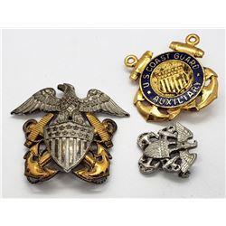 Vintage US Coast Guard Pins & Service Cap Insignia