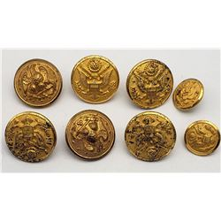 Vintage US Army Brass Uniform Buttons