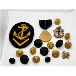 WWII US Navy Lot Patch Buttons Pins - Modern Medal