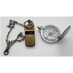 Military Whistle & Compass