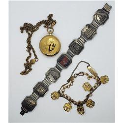 Vintage USN Navy Jewelry Lot Locket Bracelet