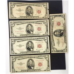 5-1953 $5 RED SEAL U.S. NOTES