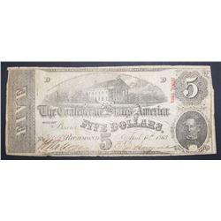 $5 CONFEDERATE STATES OF AMERICA