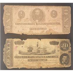 1864 $20 & 1863 $1 CONFEDERATE NOTES