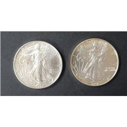 2 - 1994 and 1997 American Silver Eagles 1 oz 999