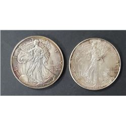 2- 1993 and 2003 American Silver Eagles 1 oz 999