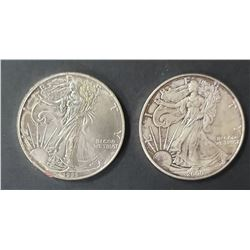 2- 1995 and 2000 American Silver Eagles 1 oz 999