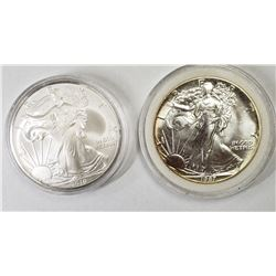 2 - 1987 and 2010 American Silver Eagles 1 oz 999