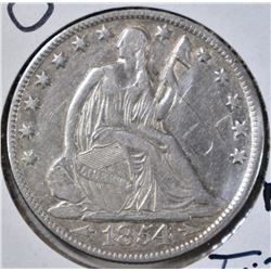 1854-O WITH ARROWS SEATED HALF CARVED INITIALS