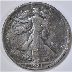 1921-D WALKING LIBERTY HALF DOLLAR, FINE scatches