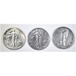 LOT OF 3 WALKING LIBERTY HALF DOLLARS