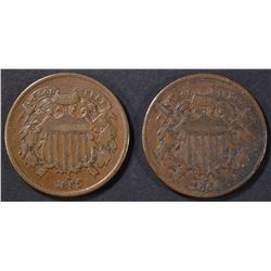 1864 & 65 2 CENT PIECES XF