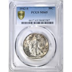 1942-S WALKING LIBERTY HALF DOLLAR PCGS MS-65