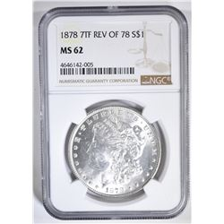 1878 7TF REV OF 78 MORGAN DOLLAR NGC MS-62