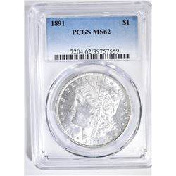 1891 MORGAN DOLLAR PCGS MS-62