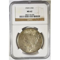1925-S PEACE DOLLAR NGC MS-62
