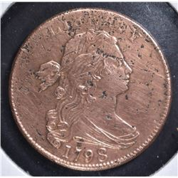 1798 LARGE CENT, AU- CLEANED, CORRODED